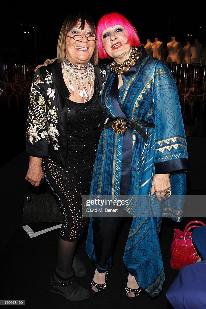 Hilary Alexander and Zandra Rhodes attend the gala awards show for Graduate Fashion Week 2013 at Earls Court 2 on June 5, 2013 in London, England.