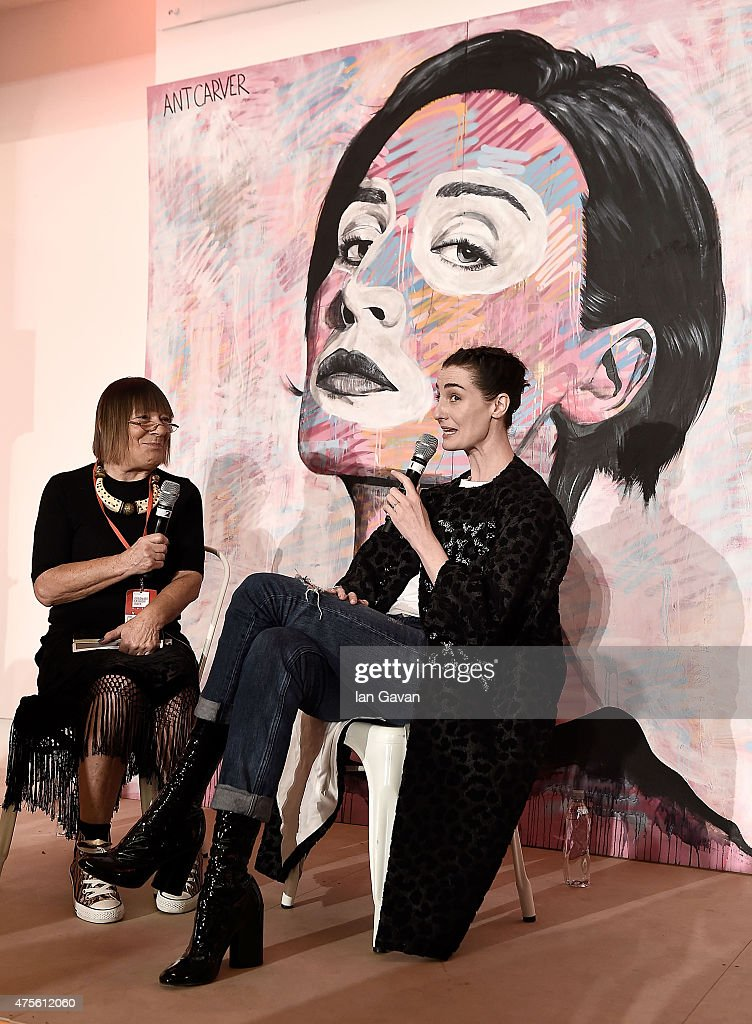 Hilary Alexander in conversation with Erin O'Connor during Graduate Fashion Week sponsored by George at Asda at The Old Truman Brewery on June 2 2015...