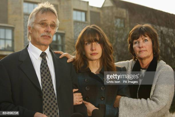 Hilary and Trevor Foster and daughter Sarah speak to the media outside Winchester Crown Court after a jury found Maninder Pal Singh Kohli guilty of...