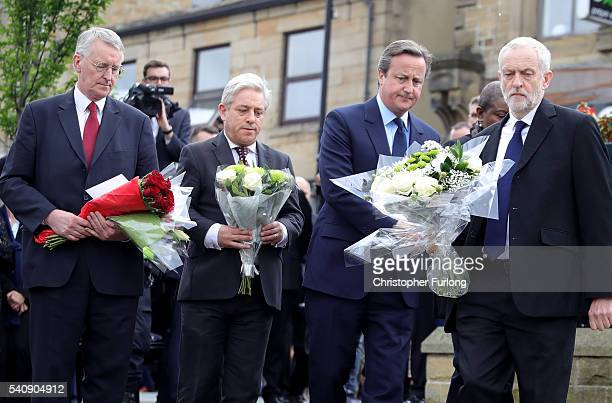 Hilary Benn MP for Leeds Central Speaker of the House of Commons John Bercow Prime Minister David Cameron and Labour Leader Jeremy Corbyn pay their...
