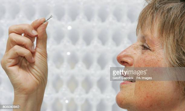 Hilary Ditchling looks at the diamond ring she pulled from the Royal Society of Chemistry's Diamond Lucky Dip in front of a diamond molecular...