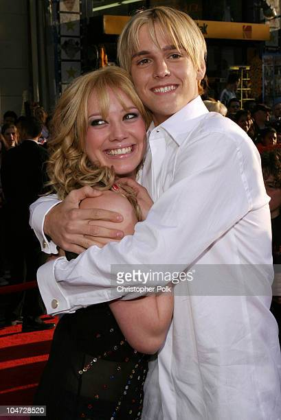 Hilary Duff and Aaron Carter during The Lizzy McGuire Movie Premiere at El Capitan Theater in Hollywood California United States
