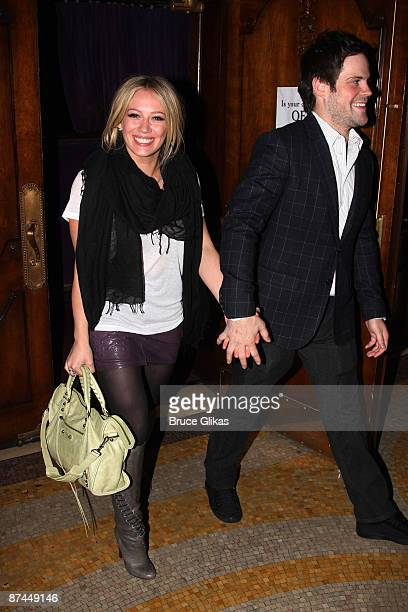 Hilary Duff and boyfriend Mike Comrie exit the hit play 'Reasons to be Pretty' on Broadway at The Lyceum Theater on May 16 2009 in New York City