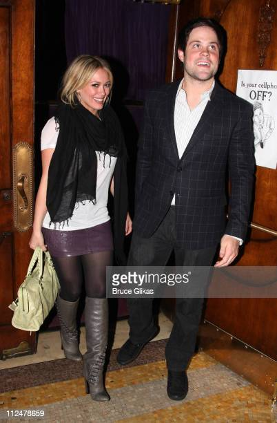Hilary Duff and boyfriend Mike Comrie seen exiting the hit play ''Reasons to be Pretty'' on Broadway at The Lyceum Theater on May 16 2009 in New York...