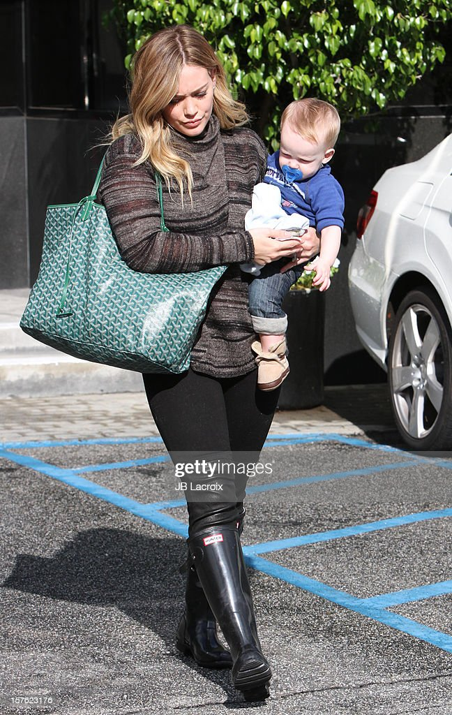 Hilary Duff and Luca Cruz Comrie are seen on December 4, 2012 in Los Angeles, California.