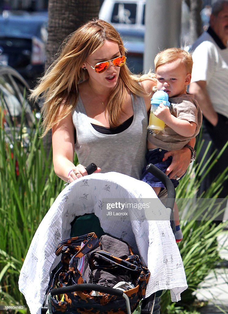 <a gi-track='captionPersonalityLinkClicked' href=/galleries/search?phrase=Hilary+Duff&family=editorial&specificpeople=201586 ng-click='$event.stopPropagation()'>Hilary Duff</a> and Lucas Comrie Duff are seen on April 18, 2013 in Los Angeles, California.