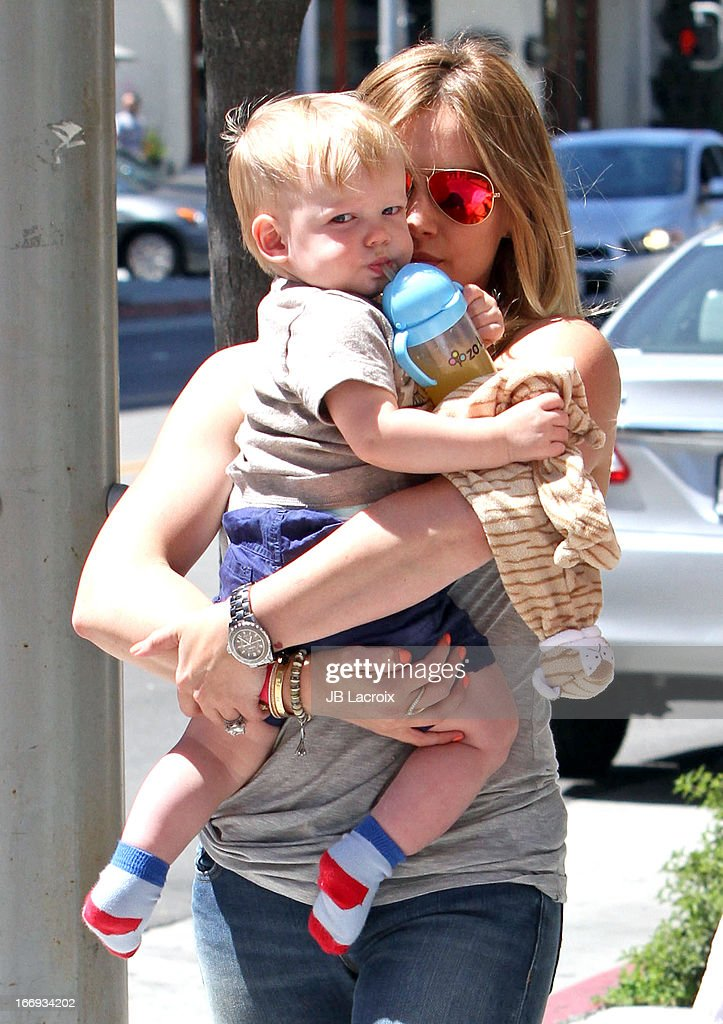 Hilary Duff and Lucas Comrie Duff are seen on April 18, 2013 in Los Angeles, California.