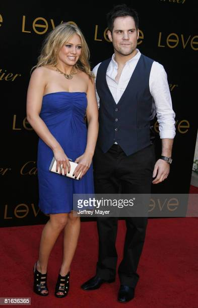 Hilary Duff and Mike Comrie arrives at the Cartier Charity Love Bracelet Launch on June 18 2008 at a Private Residence in Los Angeles California