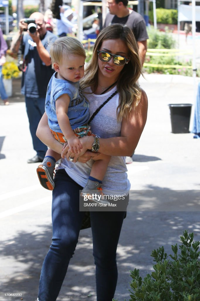 <a gi-track='captionPersonalityLinkClicked' href=/galleries/search?phrase=Hilary+Duff&family=editorial&specificpeople=201586 ng-click='$event.stopPropagation()'>Hilary Duff</a> and son Luca Cruz Comrie as seen on June 15, 2013 in Los Angeles, California.