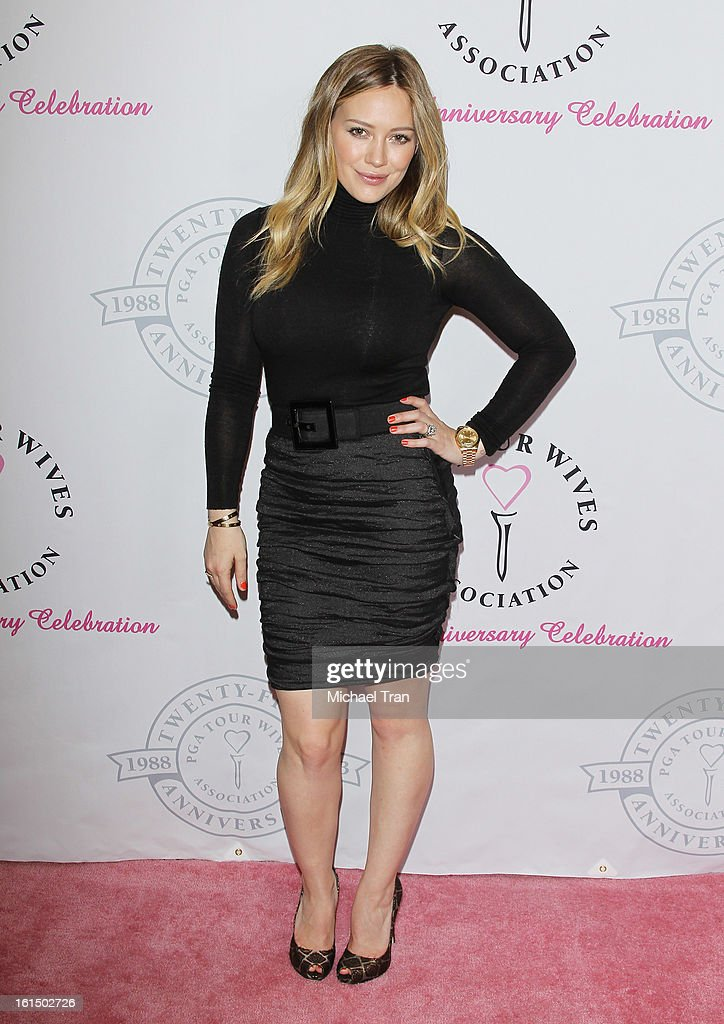 <a gi-track='captionPersonalityLinkClicked' href=/galleries/search?phrase=Hilary+Duff&family=editorial&specificpeople=201586 ng-click='$event.stopPropagation()'>Hilary Duff</a> arrives at the PGA TOUR Wives Association celebrates its 25th Anniversary held at Fairmont Miramar Hotel on February 11, 2013 in Santa Monica, California.