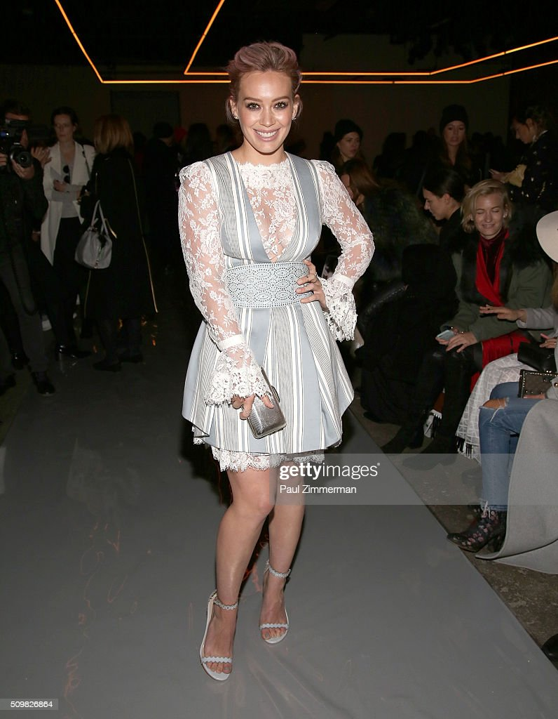 <a gi-track='captionPersonalityLinkClicked' href=/galleries/search?phrase=Hilary+Duff&family=editorial&specificpeople=201586 ng-click='$event.stopPropagation()'>Hilary Duff</a> attends Zimmermann - Front Row & Backstage - Fall 2016 New York Fashion Week at ArtBeam on February 12, 2016 in New York City.