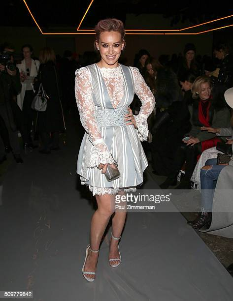 Hilary Duff attends Zimmermann Front Row Fall 2016 New York Fashion Week at ArtBeam on February 12 2016 in New York City