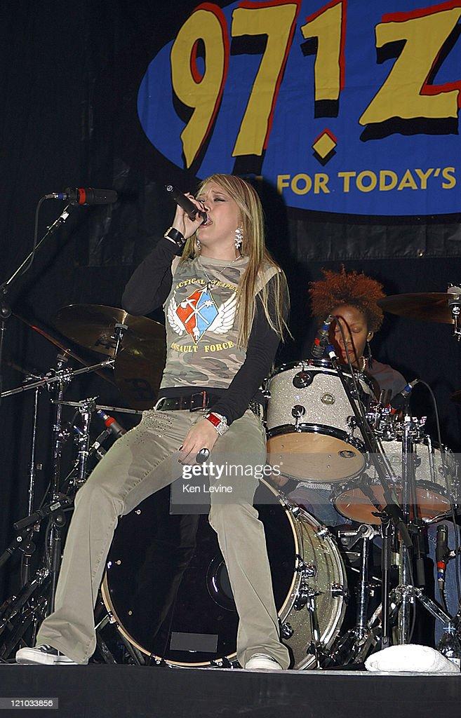 Hilary Duff during 971 ZHT Jingle Ball December 1 2004 at Delta Center in Salt Lake City Utah United States