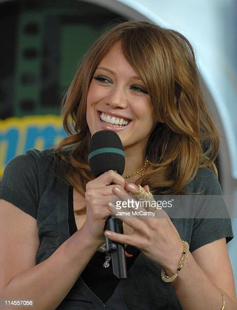 Hilary Duff during Hilary Duff and Haylie Duff and Raven Simone Visit MTV's 'TRL' June 262006 at MTV Studios Times Square in New York City New York...