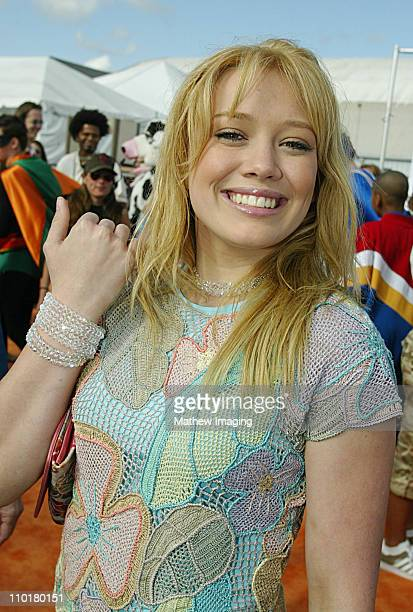 Hilary Duff during Nickelodeon's 16th Annual Kids' Choice Awards 2003 Arrivals at Barker Hangar in Santa Monica CA United States