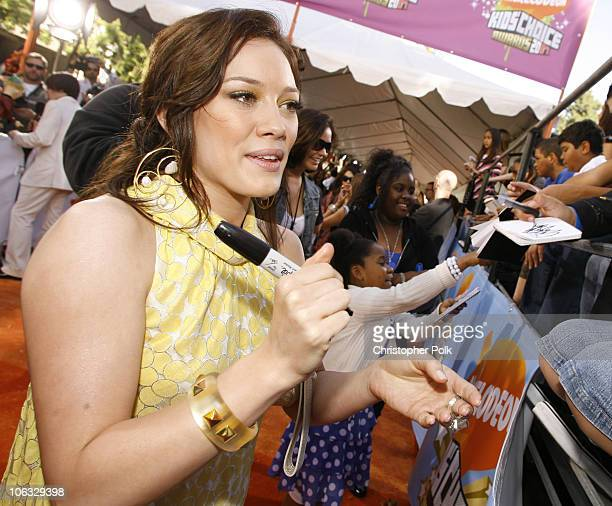 Hilary Duff during Nickelodeon's 20th Annual Kids' Choice Awards Orange Carpet at Pauley Pavilion UCLA in Westwood California United States