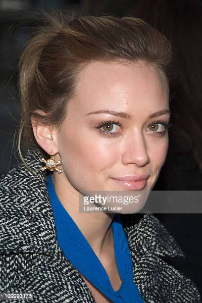 Hilary Duff during Olympus Fashion Week Spring 2006 Vera Wang Arrivals at Bryant Park in New York NY United States
