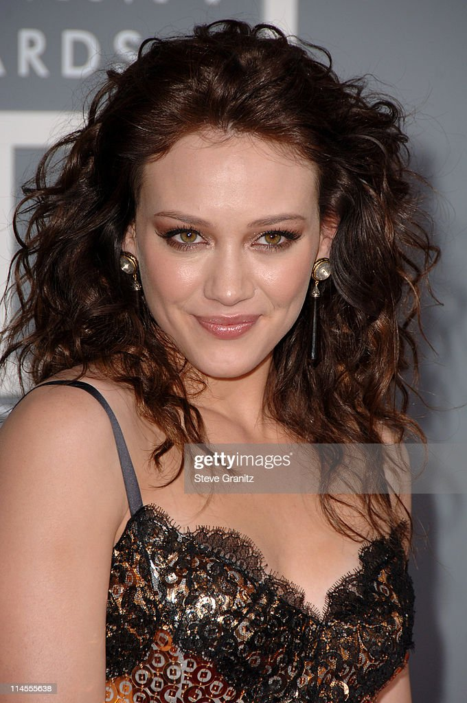 <a gi-track='captionPersonalityLinkClicked' href=/galleries/search?phrase=Hilary+Duff&family=editorial&specificpeople=201586 ng-click='$event.stopPropagation()'>Hilary Duff</a> during The 49th Annual GRAMMY Awards - Arrivals at Staples Center in Los Angeles, California, United States.