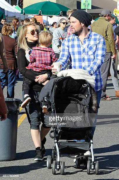 Hilary Duff her husband Mike Comrie and their son Luca Comrie are seen on November 24 2013 in Los Angeles California