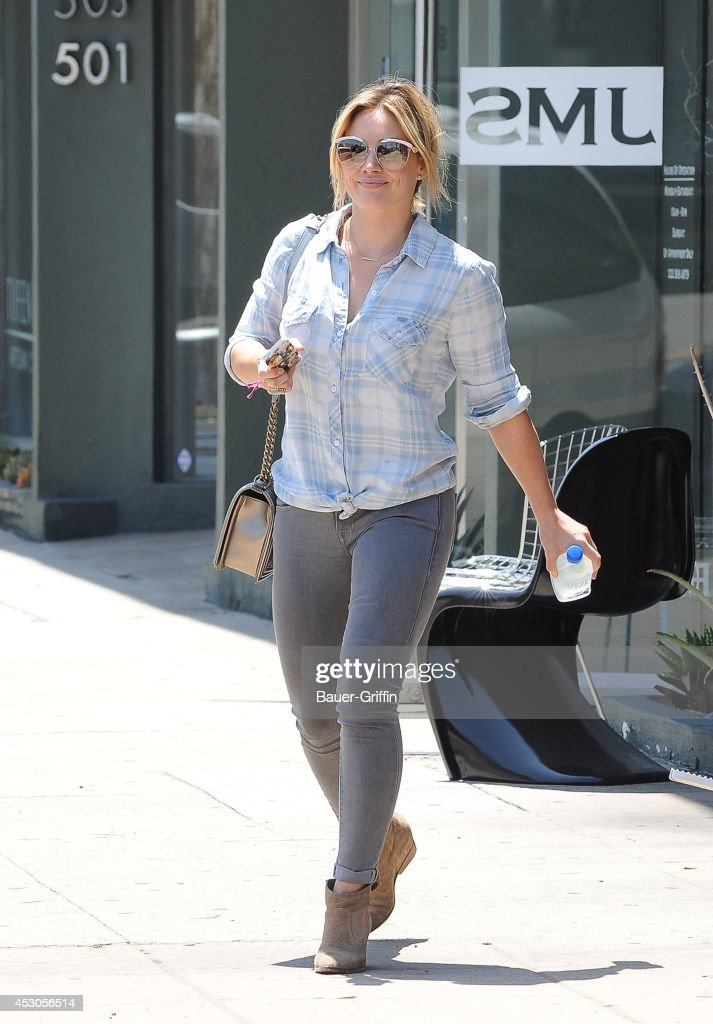 <a gi-track='captionPersonalityLinkClicked' href=/galleries/search?phrase=Hilary+Duff&family=editorial&specificpeople=201586 ng-click='$event.stopPropagation()'>Hilary Duff</a> is seen in Hollywood on August 01, 2014 in Los Angeles, California.