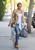 Hilary Duff is seen in Hollywood on August 22 2014 in Los Angeles California