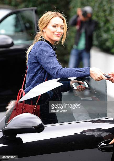 Hilary Duff is seen valeting her car at Cecconi's restaurant on January 30 2014 in Los Angeles California