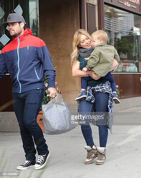 Hilary Duff is seen with husband Mike Comrie and son Luca Cruz Comrie on November 23 2013 in Los Angeles California