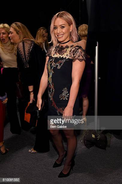 Hilary Duff poses backstage at the Monique Lhuillier Fall 2016 fashion show during New York Fashion Week The Shows at The Arc Skylight at Moynihan...