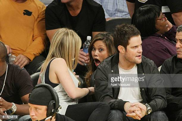 Hilary Duff Vanessa Minnillo and Mike Comrie attend Game Three of the 2008 NBA Finals between the Boston Celtics and the Los Angeles Lakers on June...