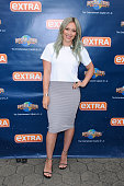 Hilary Duff visits 'Extra' at Universal Studios Hollywood on April 7 2015 in Universal City California