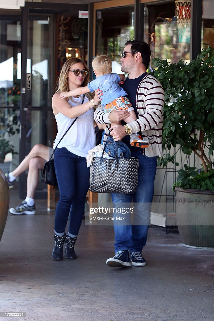 <a gi-track='captionPersonalityLinkClicked' href=/galleries/search?phrase=Hilary+Duff&family=editorial&specificpeople=201586 ng-click='$event.stopPropagation()'>Hilary Duff</a> with husband <a gi-track='captionPersonalityLinkClicked' href=/galleries/search?phrase=Mike+Comrie&family=editorial&specificpeople=201531 ng-click='$event.stopPropagation()'>Mike Comrie</a> and son Luca Cruz Comrie as seen on June 15, 2013 in Los Angeles, California.