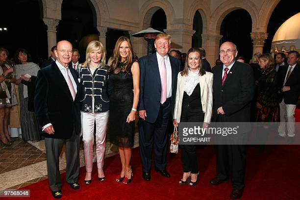 Hilary Geary Ross Wilbur Ross Melania Trump Donlad Trump Judith Giuliani and Rudy Giuliani attend the Andrea Bocelli concert at The MaraLago Club on...