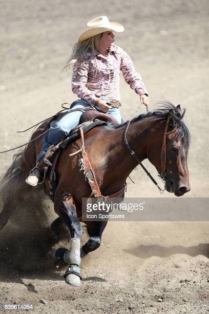 Hilary Imhof from Hermiston OR scored a 1815 in the Slack Barrel Racing competition on August 25 2017 at the Kitsap County Fair and Stampede in...