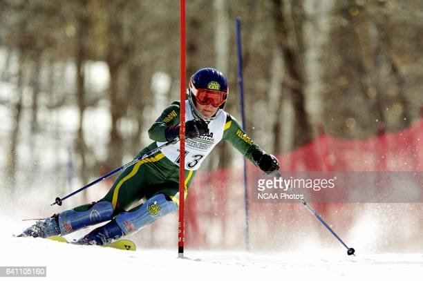 Hilary McCloy of the University of Vermont races to a fourth place finish in the women's slalom during the Division 1 Women's Skiing Championship...