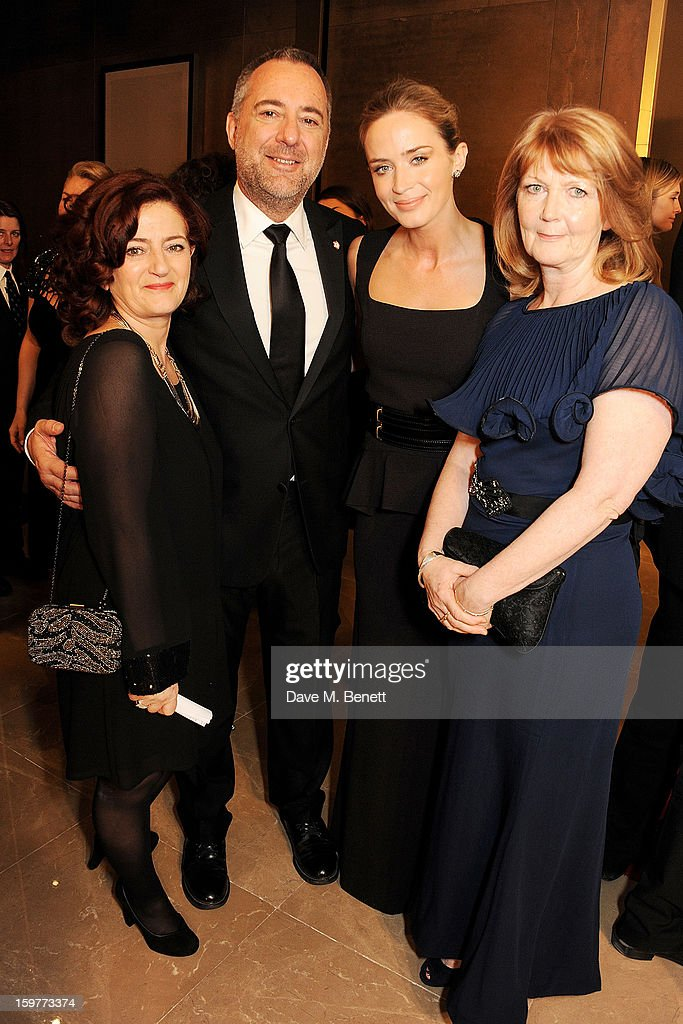 Hilary Oliver, Rich Cline, Emily Blunt and mother Joanna Blunt arrive at the London Critics Circle Film Awards at the May Fair Hotel on January 20, 2013 in London, England.