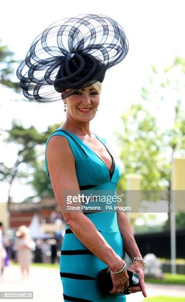 Hilary Pritchard from York shows off her fashion choices during day one at Ascot Racecourse Berkshire