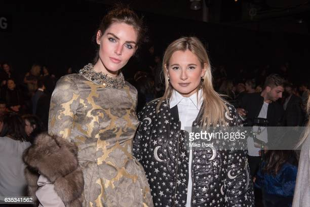 Hilary Rhoda and Danielle Bernstein attend the Dennis Basso collection during New York Fashion Week The Shows at Gallery 1 Skylight Clarkson Sq on...