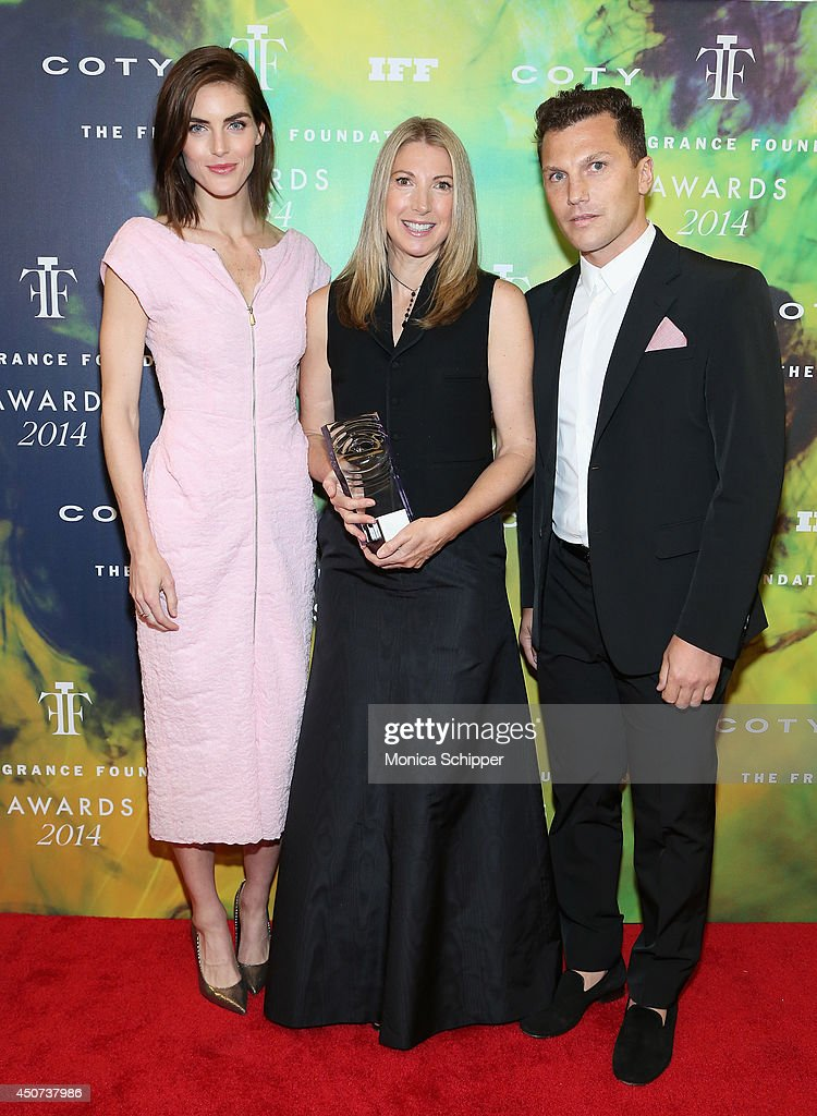 Hilary Rhoda and Sean Avery pose with an award winner at the 2014 Fragrance Foundation Awards on June 16, 2014 in New York City.