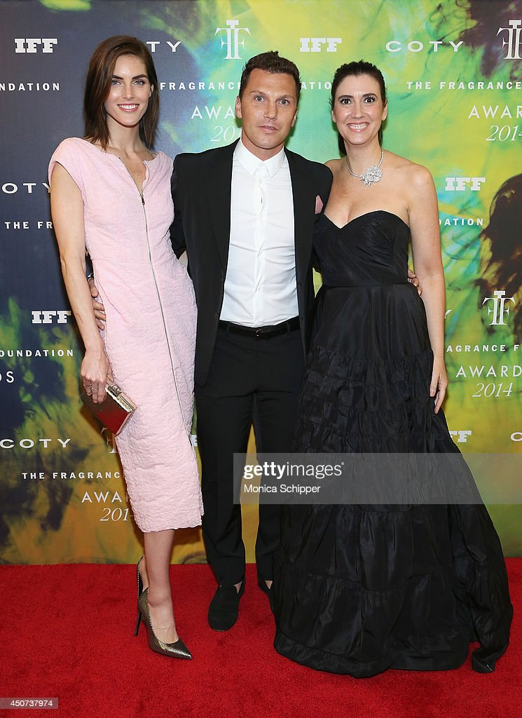 Hilary Rhoda and Sean Avery pose with The Fragrance Foundation President, Elizabeth Musmanno at the 2014 Fragrance Foundation Awards on June 16, 2014 in New York City.