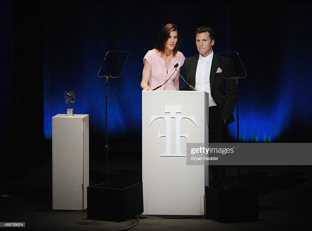 Hilary Rhoda and Sean Avery speak onstage at the 2014 Fragrance Foundation Awards on June 16, 2014 in New York City.