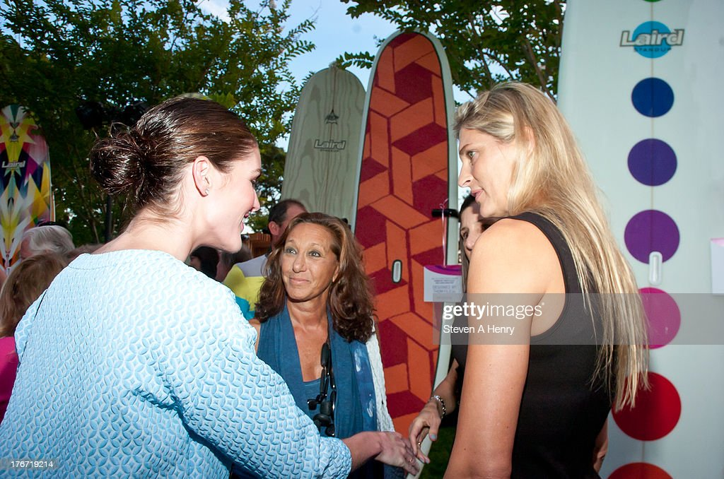 Hilary Rhoda, Donna Karan and Gabrielle Reece attend the 2nd annual Paddle & Party for Pink on August 17, 2013 in Sag Harbor, New York.