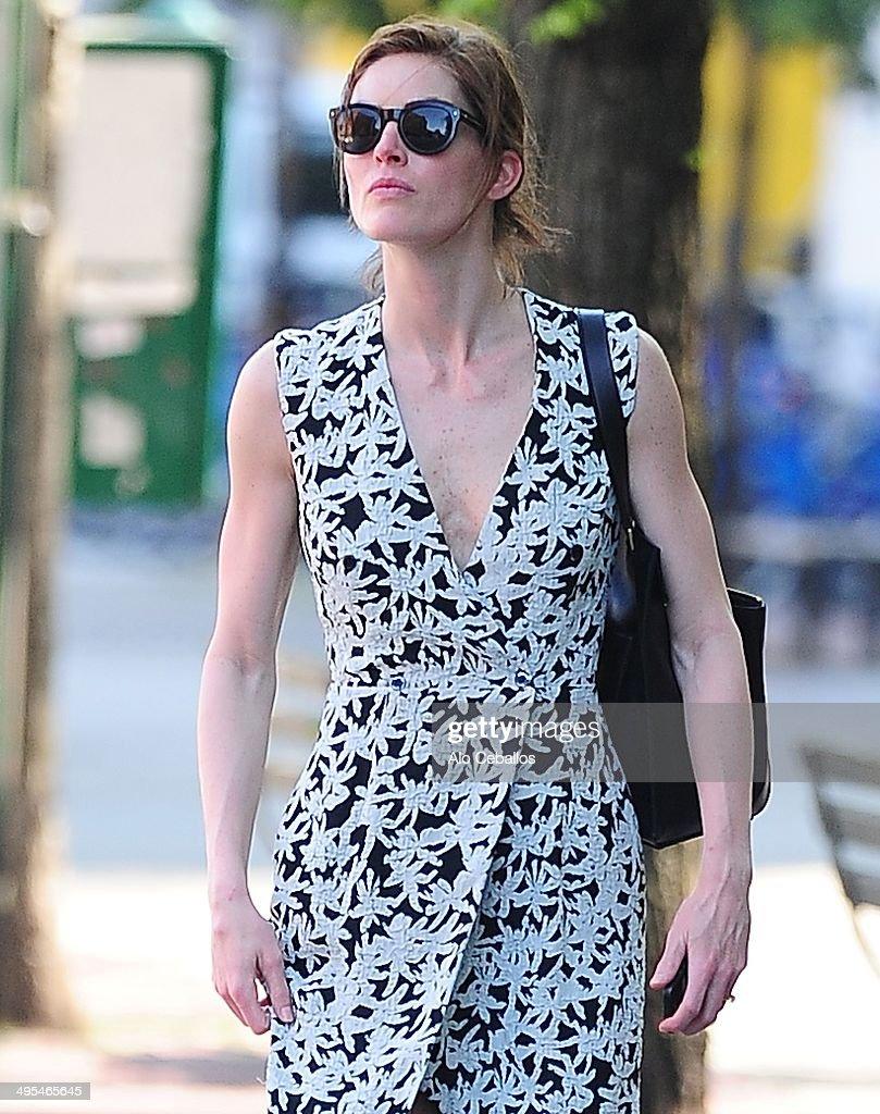 Hilary Rhoda is seen in Soho on June 3, 2014 in New York City.