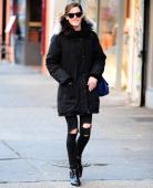 Hilary Rhoda is seen in SoHo on November 18 2013 in New York City
