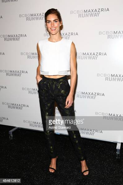Hilary Rhoda poses backstage at the BCBGMAXAZRIA fashion show during MercedesBenz Fashion Week Spring 2015 at The Theatre at Lincoln Center on...