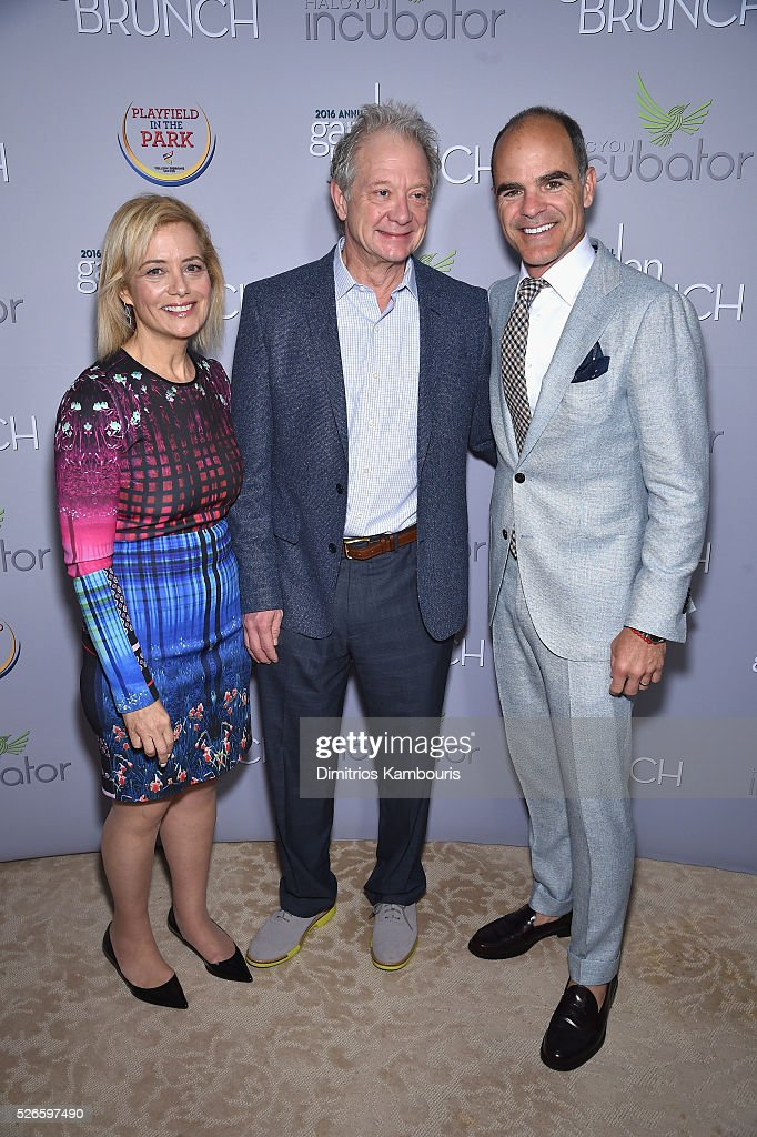 Hilary Rosen, Jeff Perry and Michael Kelly attend the Garden Brunch prior to the 102nd White House Correspondents' Association Dinner at the Beall-Washington House on April 30, 2016 in Washington, DC.
