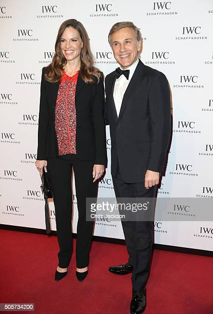 Hilary Swank and Christoph Waltz attend the IWC 'Come Fly with us' Gala Dinner during the launch of the Pilot's Watches Novelties from the Swiss...
