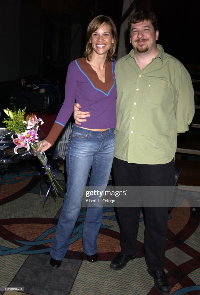<a gi-track='captionPersonalityLinkClicked' href=/galleries/search?phrase=Hilary+Swank&family=editorial&specificpeople=201692 ng-click='$event.stopPropagation()'>Hilary Swank</a> and Jonathan Rogers during 2002 San Diego Comic Con International - Day Three at San Diego Convention Center in San Diego, California, United States.