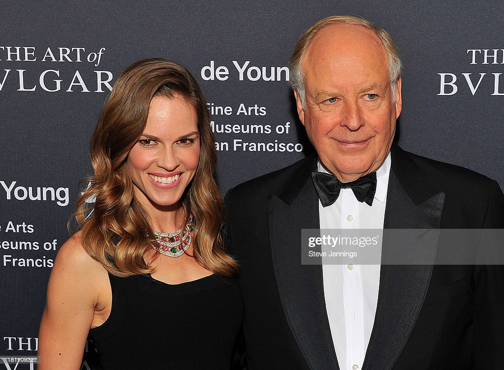 Hilary Swank and Nicola Bulgari attend the Bvlgari Retrospective Opening at M H de Young Memorial Museum on September 18 2013 in San Francisco...