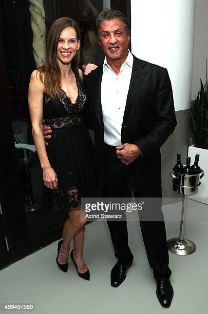 Hilary Swank and Sylvester Stallone attend DuJour Magazine's Jason Binn Celebrates Annual Art Basel Miami Beach KickOff Party at Delano Beach Club on...