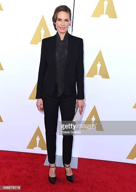 Hilary Swank arrives at The Academy Hosts Hollywood Costume Luncheon at Wilshire May Company Building on October 8 2014 in Los Angeles California